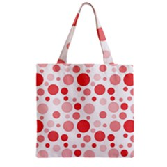 Polka Dots Zipper Grocery Tote Bag by Valentinaart
