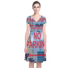 No Parking  Short Sleeve Front Wrap Dress