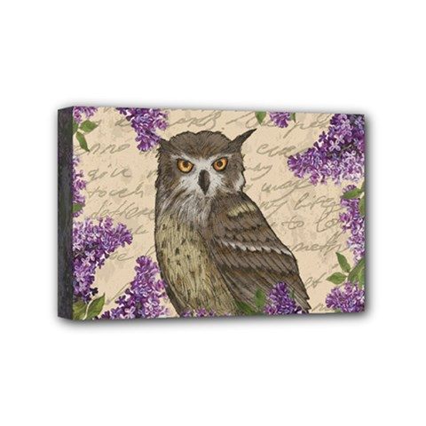Vintage Owl And Lilac Mini Canvas 6  X 4