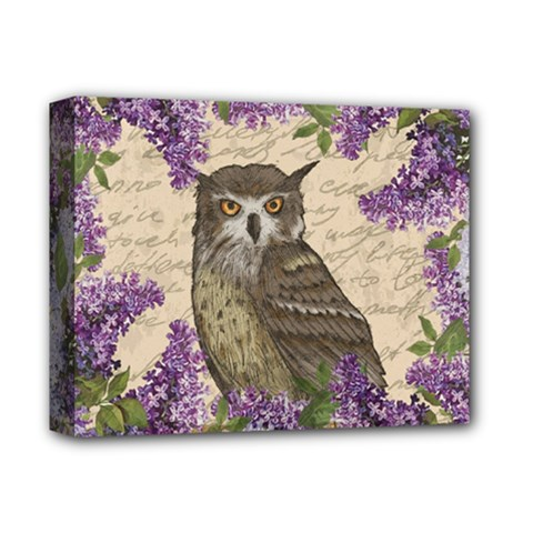 Vintage Owl And Lilac Deluxe Canvas 14  X 11  by Valentinaart