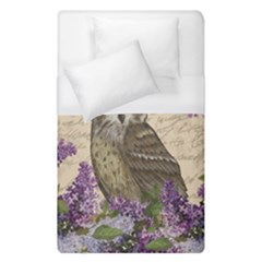 Vintage Owl And Lilac Duvet Cover (single Size) by Valentinaart