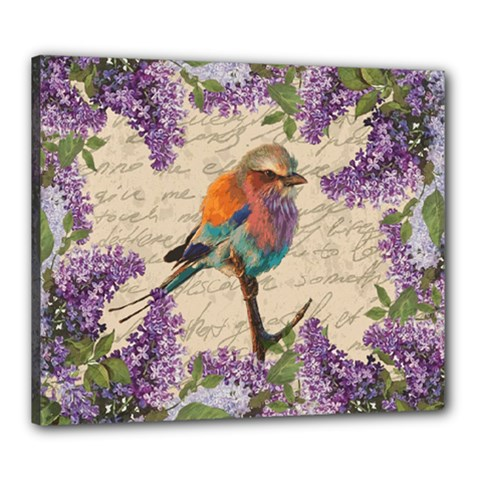 Vintage Bird And Lilac Canvas 24  X 20  by Valentinaart