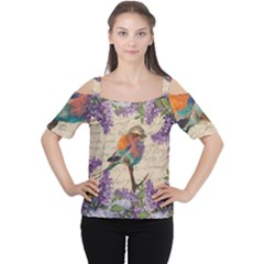 Vintage Bird And Lilac Women s Cutout Shoulder Tee by Valentinaart