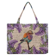 Vintage Bird And Lilac Medium Zipper Tote Bag by Valentinaart