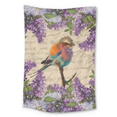 Vintage Bird And Lilac Large Tapestry by Valentinaart