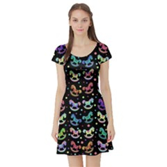 Toys pattern Short Sleeve Skater Dress