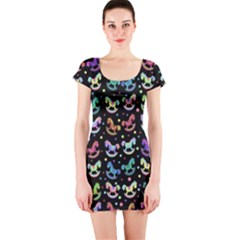 Toys pattern Short Sleeve Bodycon Dress