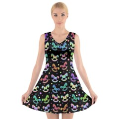 Toys pattern V-Neck Sleeveless Skater Dress