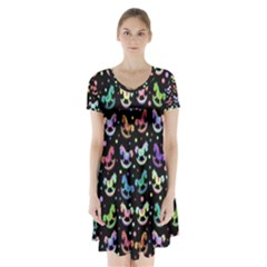 Toys pattern Short Sleeve V-neck Flare Dress