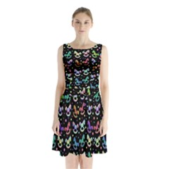 Toys pattern Sleeveless Chiffon Waist Tie Dress