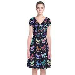 Toys pattern Short Sleeve Front Wrap Dress