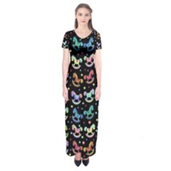 Toys pattern Short Sleeve Maxi Dress