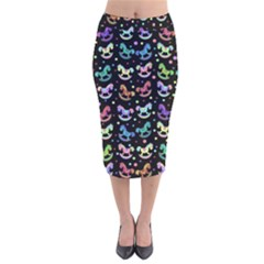 Toys pattern Velvet Midi Pencil Skirt