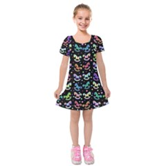 Toys pattern Kids  Short Sleeve Velvet Dress