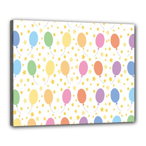 Balloon Star Rainbow Canvas 20  X 16  by Mariart