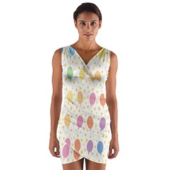 Balloon Star Rainbow Wrap Front Bodycon Dress by Mariart