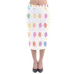 Balloon Star Rainbow Velvet Midi Pencil Skirt by Mariart