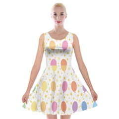 Balloon Star Rainbow Velvet Skater Dress
