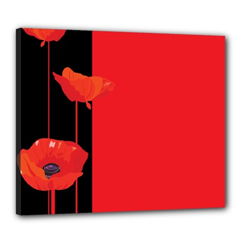Flower Floral Red Back Sakura Canvas 24  X 20