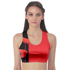 Flower Floral Red Back Sakura Sports Bra by Mariart