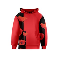 Flower Floral Red Back Sakura Kids  Pullover Hoodie by Mariart