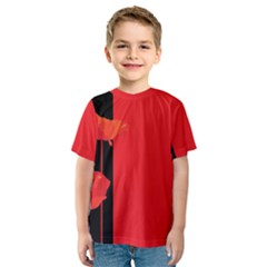 Flower Floral Red Back Sakura Kids  Sport Mesh Tee