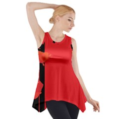 Flower Floral Red Back Sakura Side Drop Tank Tunic by Mariart
