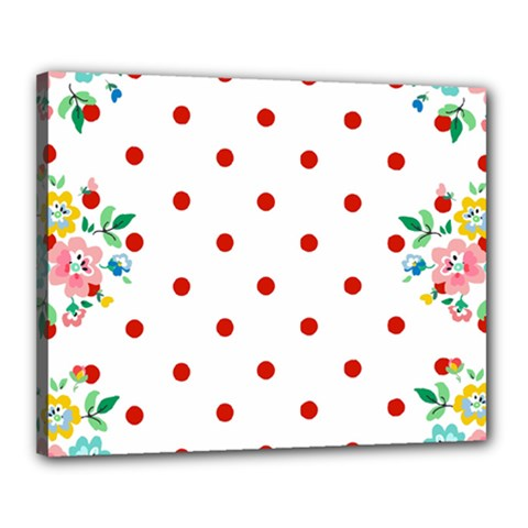 Flower Floral Polka Dot Orange Canvas 20  X 16  by Mariart