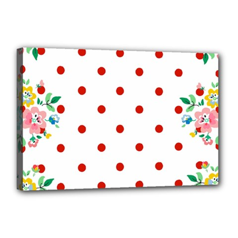 Flower Floral Polka Dot Orange Canvas 18  X 12  by Mariart