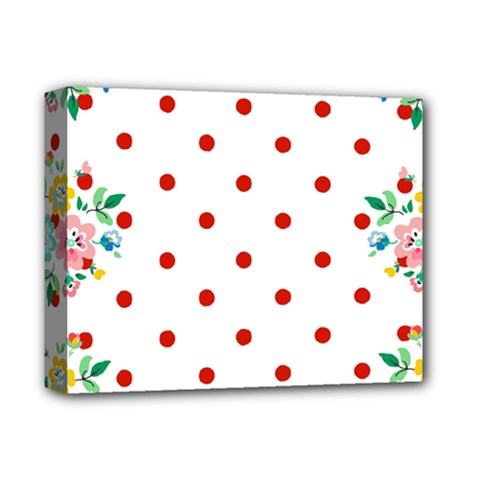Flower Floral Polka Dot Orange Deluxe Canvas 14  X 11  by Mariart