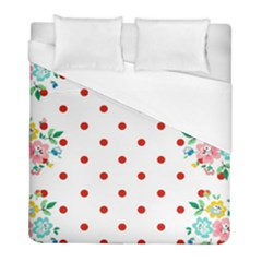 Flower Floral Polka Dot Orange Duvet Cover (full/ Double Size) by Mariart