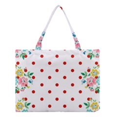 Flower Floral Polka Dot Orange Medium Tote Bag by Mariart