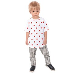 Flower Floral Polka Dot Orange Kids  Raglan Tee