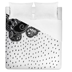 Batik Rain Black Flower Spot Duvet Cover (queen Size) by Mariart