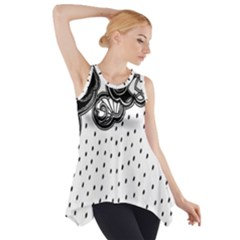 Batik Rain Black Flower Spot Side Drop Tank Tunic by Mariart