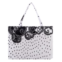 Batik Rain Black Flower Spot Medium Tote Bag