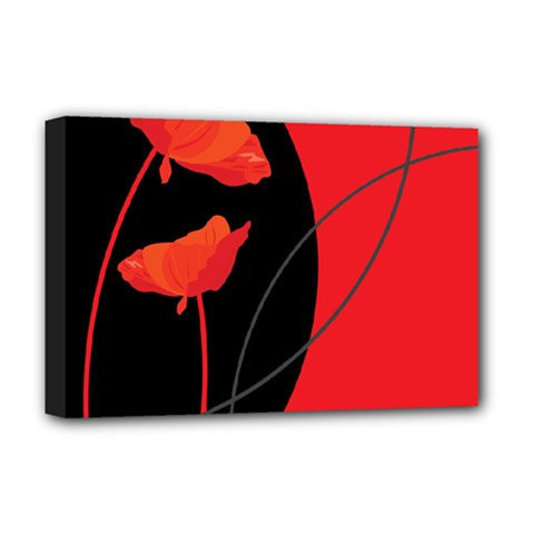 Flower Floral Red Black Sakura Line Deluxe Canvas 18  X 12   by Mariart