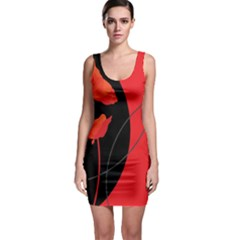 Flower Floral Red Black Sakura Line Sleeveless Bodycon Dress by Mariart
