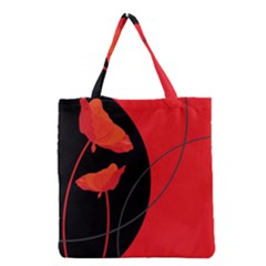 Flower Floral Red Black Sakura Line Grocery Tote Bag by Mariart