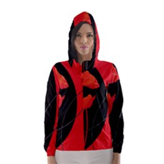Flower Floral Red Black Sakura Line Hooded Wind Breaker (women) by Mariart