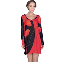 Flower Floral Red Black Sakura Line Long Sleeve Nightdress by Mariart