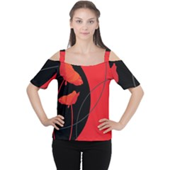 Flower Floral Red Black Sakura Line Women s Cutout Shoulder Tee by Mariart