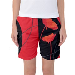 Flower Floral Red Black Sakura Line Women s Basketball Shorts by Mariart