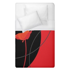 Flower Floral Red Black Sakura Line Duvet Cover (single Size) by Mariart
