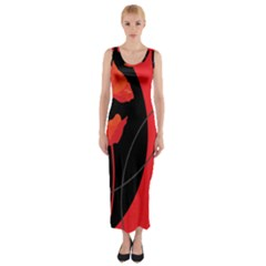 Flower Floral Red Black Sakura Line Fitted Maxi Dress