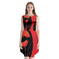 Flower Floral Red Black Sakura Line Sleeveless Chiffon Dress   by Mariart