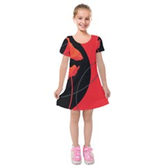 Flower Floral Red Black Sakura Line Kids  Short Sleeve Velvet Dress by Mariart