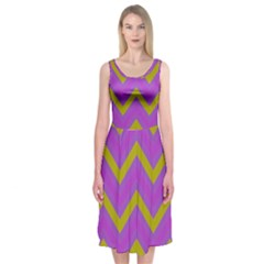 Zig Zags Pattern Midi Sleeveless Dress