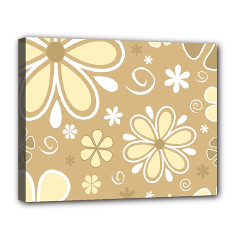 Flower Floral Star Sunflower Grey Canvas 14  X 11  by Mariart