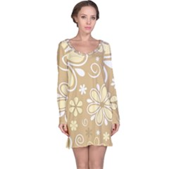 Flower Floral Star Sunflower Grey Long Sleeve Nightdress by Mariart